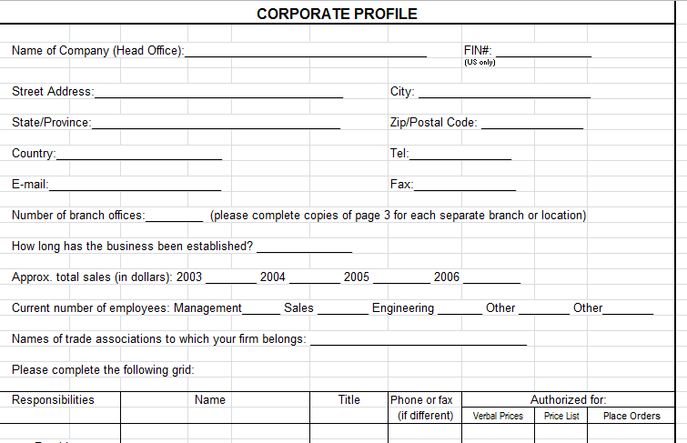 Corporate profile template microsoft excel download for Distributor profile template