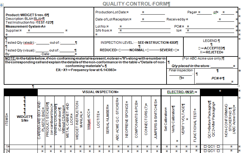 Quality control form for microsoft word and excel for Quality control check sheet template