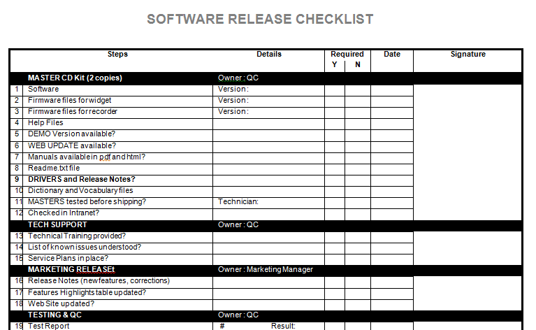 Software release notes checklist in microsoft word for Software release notes template doc