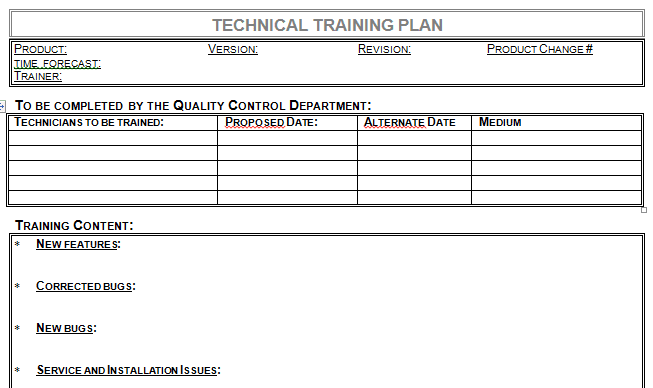 Technical Training Plan Template for Microsoft Word