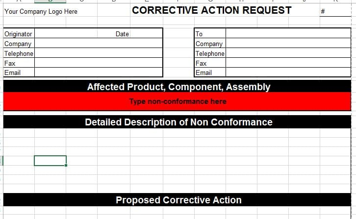 Corrective Action Template for Microsoft Excel